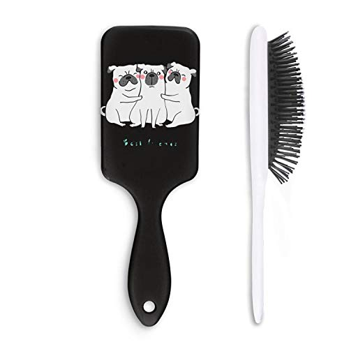 Happy Best Friend Day Pug Dog Hair Detangling Massage Brushes Massage Paddle Fast Drying Designed for Women& Men,for Wet, Dry, Thick, Thin, Curly Hair