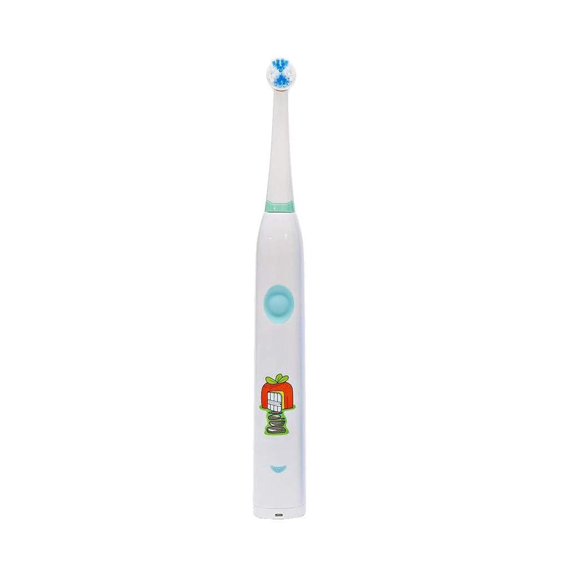 有利生産的遊び場子供用電動歯ブラシかわいいUSB充電式歯ブラシ 完全な口腔ケアのために (色 : 白, サイズ : Free size)