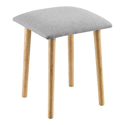 [en.casa] Sitzhocker Hocker gepolstert 45,5x36x36 cm Polsterhocker Holzhocker Hellgrau