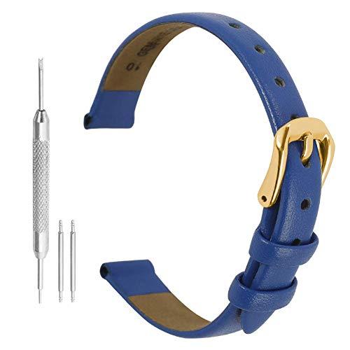 Orologi Cinturino Pelle Donna 8mm Cinturino Orologio Sottile Cinturino In Vera Pelle Delle Donne 8mm O Clock Cinturino Blu Cinturino In Pelle Blu