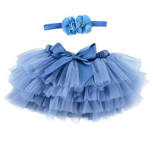 Vobony Tutu Gonna Neonata Tulle Bambina Carino Principessa Vestiti Tutu Danza + Fascia per Compleanno Newborn Fotografia Props (Blu Scuro, 1-2 Anni)