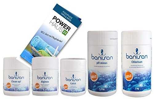 Banisan - Megasparset - Clean up! 500ml, Calcit 500ml, Alginex 500ml, Chlorisan 1kg, pH Minus 1,5kg - Powerhaus24 Pflegefibel