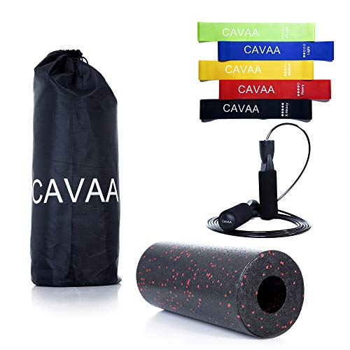CAVAA Fitness Set, Faszienrolle, Widerstandsbänder [5er Set] Springseil und Gratis Tasche für Massage Roller