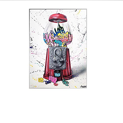 HNGFV Graffiti Botella de Perfume Moda Lienzo Pintura Maquillaje Póster e impresión Arte de la Pared Imagen Arte Callejero Moderno Decoración de la habitación 40x60cmx1 Sin Marco