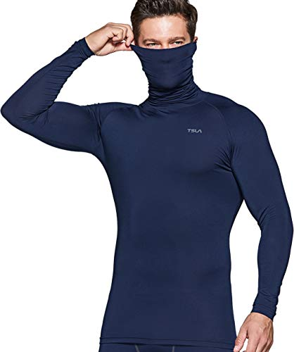 TSLA Men's Cool Dry Fit Mock Long Sleeve Compression Shirts, Athletic Workout Shirt, Active Sports Base Layer T-Shirt, Athletic Face Cover(mut14) - Navy, Large