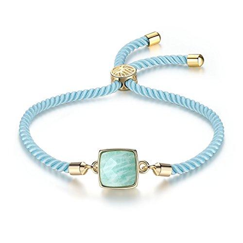 COAI Pulsera para Mujer Ajustable con Piedra Amazonita Cuadrada y Cordón Espiral de Nylon con Cierre Amuleto Árbol de la Vida