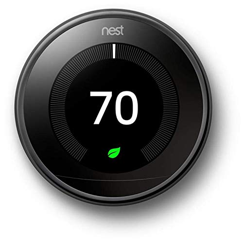 Google, T3018US, Nest Learning Thermostat, 3rd Gen, Smart Thermostat, Mirror Black, Works With Alexa