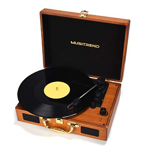 Tocadiscos estéreo de 3 velocidades, Maleta Portátil con 2 Altavoces Integrados, Tocadiscos de Vinilo de Estilo Vintage, Función Grabación/MP3 - Madera Natural