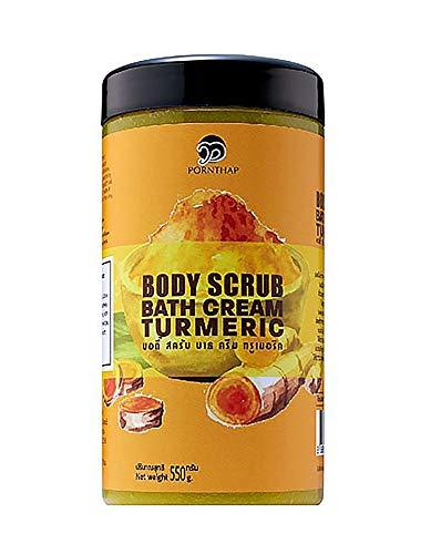 PornThap Premium Organic Body Scrub Bath Cream TURMERIC Formula (1.35LB) 550 g. PEARL BODY SCRUB mixed Dead Sea Salt & Nutrients INCLUDES, Fast Results First Use Exfoliating, Help for All Skin Problem