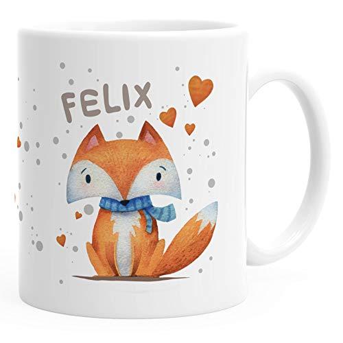 SpecialMe® Kindertasse Kunststoff-Tasse Fuchs Motiv mit Namen personalisierte Namenstasse für Kinder Jungen Mädchen weiß Kunstoff-Tasse
