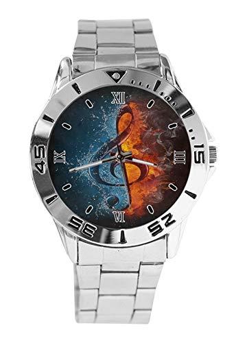 Nota de música fuego y agua moda mujer relojes de pulsera reloj deportivo para hombres casual correa de acero inoxidable reloj analógico de cuarzo