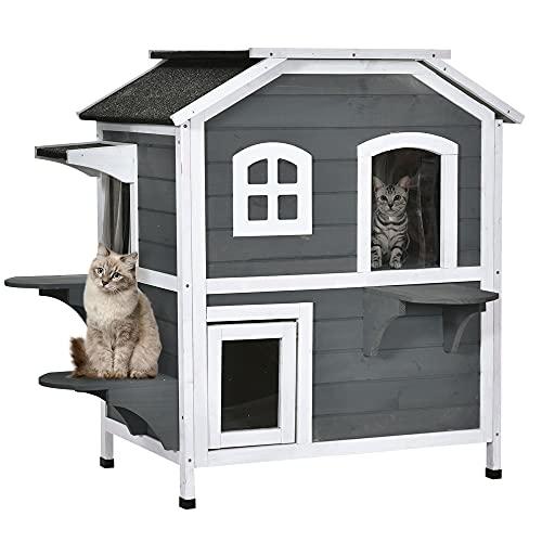 Pawhut Katzenhaus mit Asphaltdach, Outdoor Katzenhütte mit Treppen, 2-Etagen Katzenvilla, Wasserfest, Garten, Tannenholz, Grau, 78 x 55,5 x 91 cm