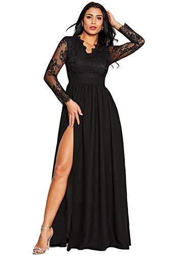 Ever Night Frauen Mit V-Ausschnitt Sexy Lace Abendkleid Lange Hülsen-Schwarz-Schwingen-Langen Kleid Taille Unregelmäßige Split Gabel-Partei-Kleides,Schwarz,M