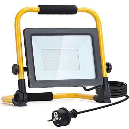 Aigostar Foco de Trabajo LED 50W,4500LM,Foco LED Portátil con Giratorio 360º,Impermeable,Soporte plegable,para Uso en Interiores y Exteriores,para Obra, Taller, Garaje,6500K Luz Blanca