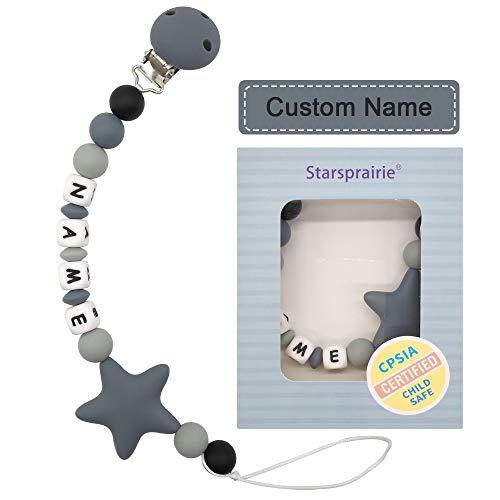Schnullerkette mit Namen Mädchen und Jungs Schnuller Clip Silikon Perlen Beißring Zahnen BPA Frei für Babys (grau)