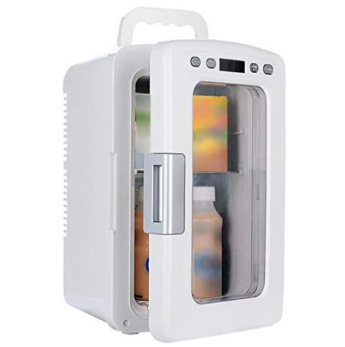Mini Koelkast - 10L 12v 220v Koelkast Warmer Diepvries Cooler Temper verstelbare draagbare Compressor Home/Car 2- in -1 Koelkast (Color : White)