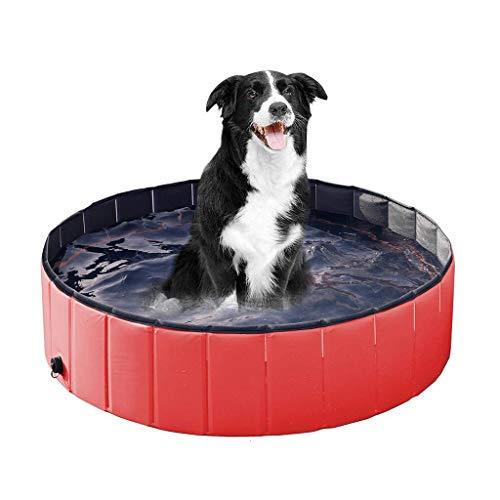 Dslxa Faltbares Hunde-Haustier-Badebecken, zusammenklappbares Hunde-Planschbecken Welpen-Katzen-Badewanne, Planschbecken für Hunde-Katzen, leicht zu leeren,Rot,S