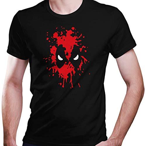 DragonHive Herren T-Shirt Blutgesicht Blut Gesicht Bloody Face Comic, Größe:XS, Farbe:Schwarz