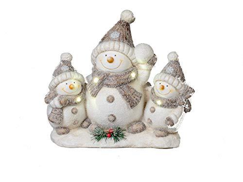 Formano Weihnachtsdeko Schneemann mit Beleuchtung Winterlandschaft mit Licht (39 x 35 x 18 cm Familie)