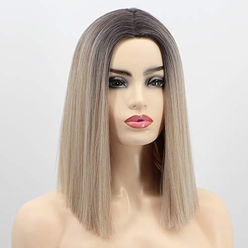 Perücke Braun ombre Blond Lang bob für Damen Mittelteil Mode Super Natürlich synthetisches Glatt Tägliches Kleid Haar Wig VD064