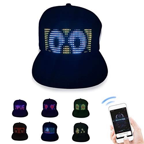 LED Hats LED Display Message Caps LED Light up Customizable BT Hat DIY...