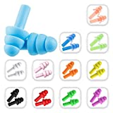 Bememo 12 Pairs Assorted Colors Ear Plugs Noise Cancelling Reusable Earplugs for Sleeping and Swimming (Multicolor D)