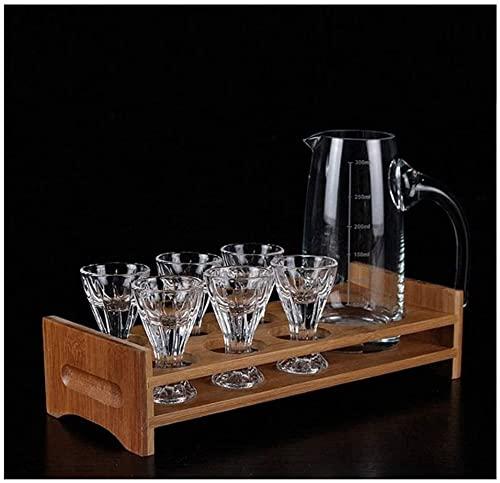 llxyzrzbhd Licorera Whisky Decantador De Vino Vaso de Cristal sin Plomo Vaso de Licor Vaso de Licor Rayado Vaso de Vino pequeño Portavasos Juego de separadores Decantador 1015