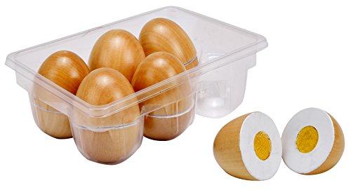 Idena 4100103 Kleine Küchenmeister Eier Set aus Holz, für Spielküche und Kaufmannsladen, ab 3 Jahre, ca. 16 x 11 x 5 cm