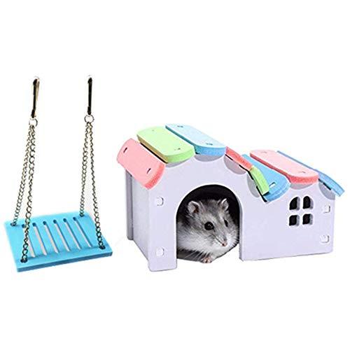 HAORI Hamsters House Ecologisch bord Gerbil Hideout Kleine schommel Suikereekhoornhutten Syrische hamsterkooi Accessoires Klimspeelgoed Klein dierenverblijf