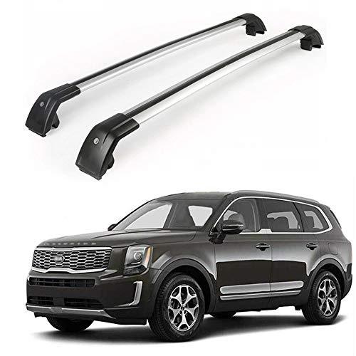 MotorFansClub Roof Rack Cross Bars Fit for Compatible with KIA Telluride 2019 2020 Crossbars Baggage Cargo Luggage Aluminum (2 PCS)