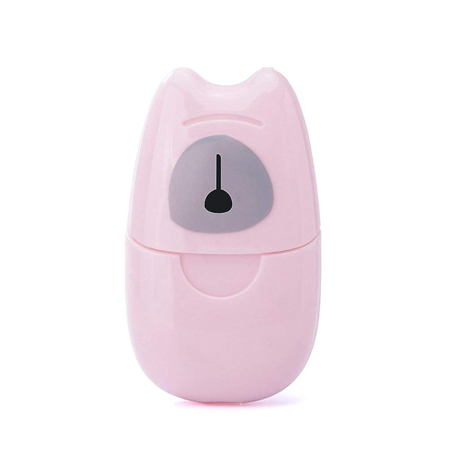 偏心投資する製油所箱入り石鹸紙旅行ポータブル屋外手洗い石鹸香料入りスライスシート50ピースプラスチックボックス付きミニ石鹸紙-ピンク