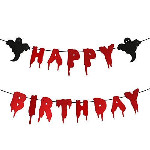 Halloween Birthday Banner, Red Glittery Halloween Happy Birthday Banner With Ghost Scary Bloody Banner, Halloween Horror Birthday Party Decorations, Halloween Zombie Vampire Party Decorations Supplies