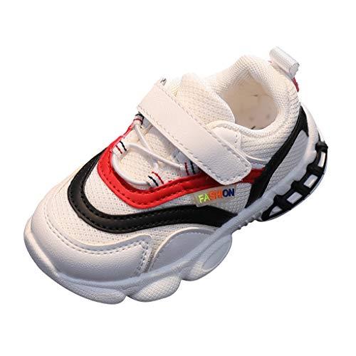 YWLINK Zapatos NiñOs Deportivo Transpirable con Parte Superior De Cuero CóModa con Zapatillas Velcro Sneakers Antideslizante Zapatos De Running Deportes De Exterior Interior Zapatos Casuales De Malla