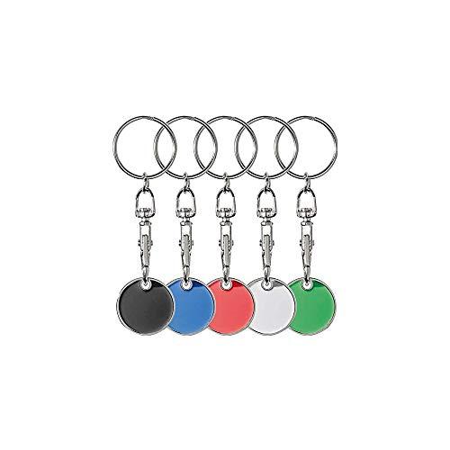 5x Metall Schlüsselanhänger mit Einkaufschip / 5 verschiedene Farben