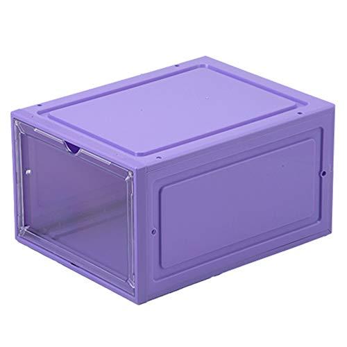 Jiacheng29_ Caja de zapatos, caja de plástico transparente apilable magnética caja de almacenamiento organizador púrpura 1