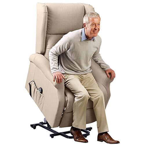 BAKAJI Poltrona Alzapersona Elettrica Motorizzata Reclinabile in Similpelle Ecopelle con Tasca Porta Telecomando per Anziani e Persone Disabili (Beige)