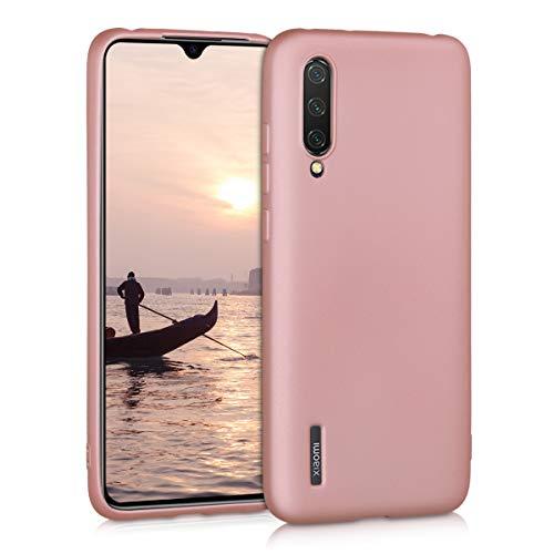 kwmobile Funda Compatible con Xiaomi Mi 9 Lite - Carcasa móvil de Silicona - Protector Trasero en Oro Rosa Metalizado
