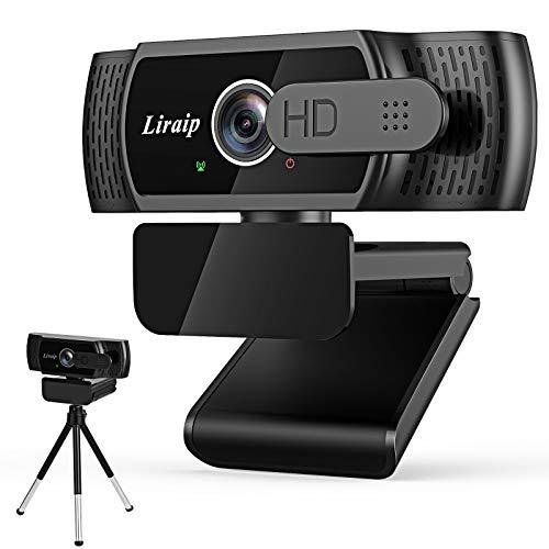 Liraip - Webcam HD con microfono, 1080p, USB 2.0, plug and play, per portatile, desktop, per live streaming, video chat, conferenze, registrazioni, lezioni online, giochi