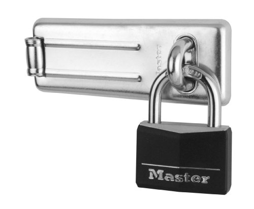 Master Lock Padlock, Aluminum Padlock with Hasp, Key Lock, Best Used as a Gate Lock, Shed Lock, Cabinet Lock and More