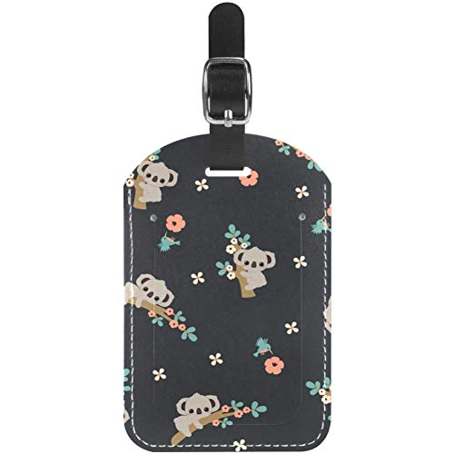Luggage Tags Cute Koala Climing Floral Tree Leather Travel Suitcase Labels 1 Packs