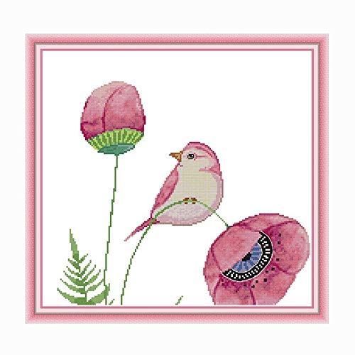 ZXF Kreuzstich Vögel und rosa Blumen Kreuzstichpackungen 11CT Stoffdruck 14CT Leinwand Gezählt Kreuzstich-DIY Stickgarn-Set Zählbare Sets (Size : 14CT Unprinted)