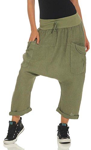 Malito Mujer Harem Pantalones Lino Pantalones Bloomers Capri Colores Lisos 6285 (Oliva)