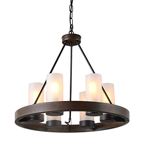 Eumyviv Circular Metal Chandelier Light with Frosted Glass Shade, Rustic French Country Chandelier Metal Pendant Lamp Industrial Edison Hanging Light 6 Lights, Brown (C0058)