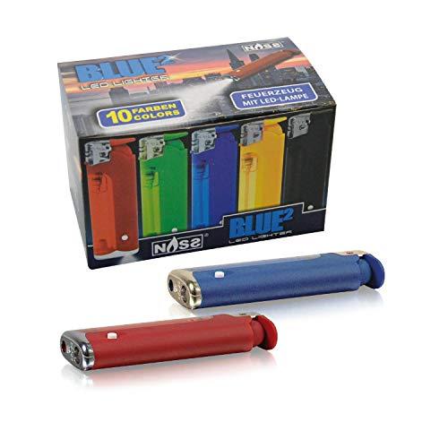 NASS® Feuerzeug mit LED Taschenlampe Blue² I Elektrisch I Nachfüllbar I Color Edition I 30 Stück