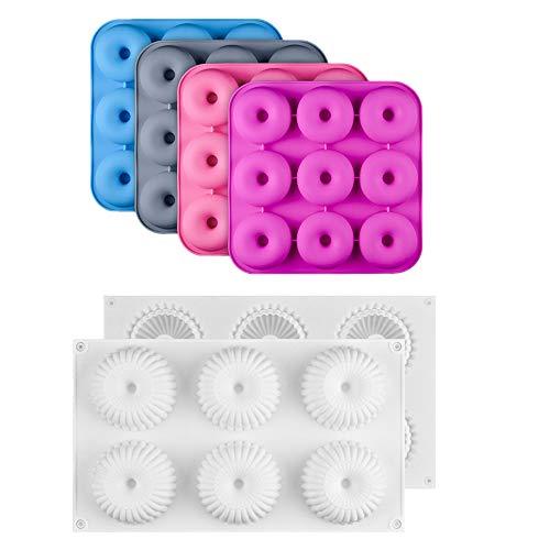 Fazeer 2 Uds Molde De Pastel De Silicona Antiadherente 3D Donuts Moldes De Pastel Postre Galletas Moldes De Mousse Molde De Pudín-Color Aleatorio