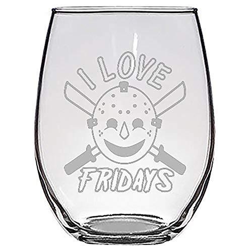 I Love Fridays Hockey Mask Machete Man Horror Film Movie Parody - Laser Engraved Stemless Wine Glasses