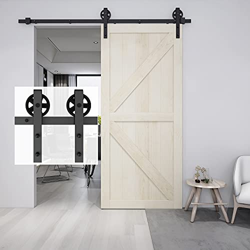 BARNSMITH Kit de riel para puerta corredera de 244 cm para 1 puerta de armario de granero de madera, resistente de acero con radios grandes
