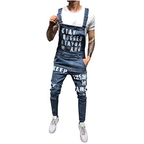 MEIbax Herren Jeans Latzhose Denim Pants Dungaree Overall Denim Jumpsuit Lightwash Hosenträger Jeanshose