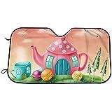 Kncsru Windschutzscheibe Sonnenschutz Visier - Fantasy Teekanne und Teetasse Häuser