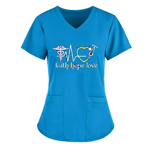 2021 Casaca Ropa de Trabajo Mujer Bolsillo Uniformes Cuello Pico Mangas Cortas Uniformes Camiseta de Manga Corta con Estampado de Dibujos Animados para con Cuello en V para Ropa de Trabajo
